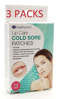 3X Healthpoint Invisible Cold sore Patches 14pk (3 packs of 14s, good value)