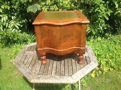 Antique  Serpentine Shape Victorian COMMODE Mahogany; Antique Leather top &step