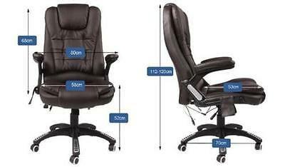 Office Massage Chair Heat Leather Recline Computer Wheels Swivel Remote Control