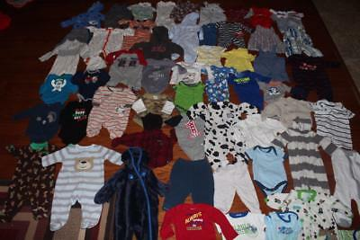 Baby Boy Clothing Lot 0-3 Months Carters 56 Piece Outfits Shirts Pants Bodysuits