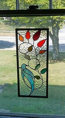 Hand Crafted Stained Glass panel, Blue bird, leaded glass window panel, USA made