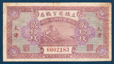China 1926 Provincial Bank of Chihli 20 Coppers - Scarce
