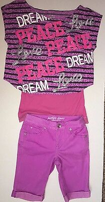 JUSTICE 3 piece lot Girls Purple Denim Short Outfit Size 12-14 Peace Bling Top