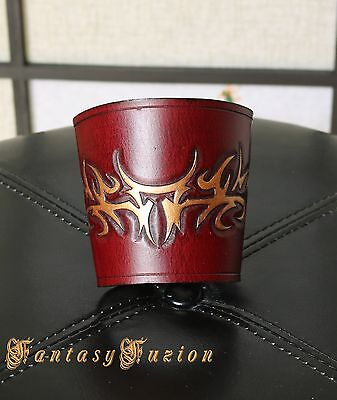 Medieval Celtic Tribal Tattoo Design Gold Touch Carving Leather CuffS -A Pair-
