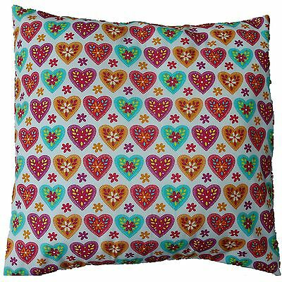 "Heart Print Pink, Blue, Orange Cotton Shabby Chic Cushion Cover Size 16"" x 16"""