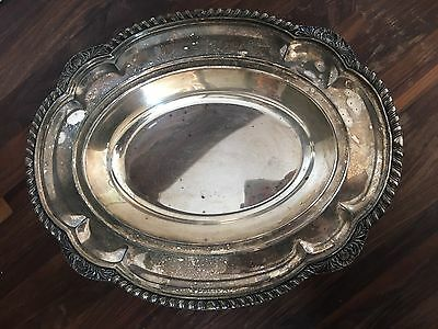 Antique Vintage Silver or Silver-Plated Platter Tray Bowl Dish Floral Trim Edge