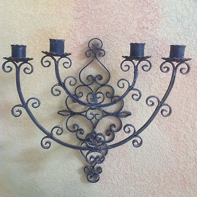 Antique Spanish Wrought Iron Wall Candle Sconce
