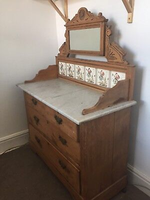 Antique Washstand/drawers With Marble Top And Mirror