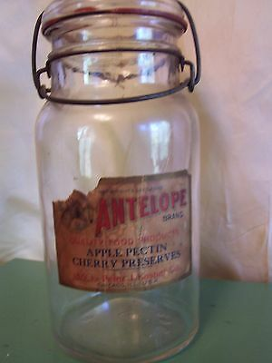 Antique Advertising Glass Preserves Jar with Label Antelope Brand Country Store