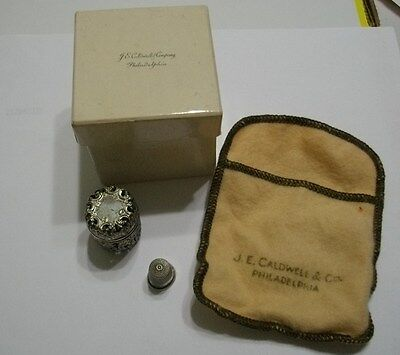 1800's JE CALDWELL PHILADELPHIA STERLING SILVER #6 THIMBLE PIERCED HOLDER CASE