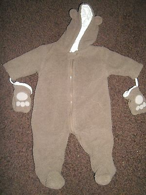 unisex 3-6 month brown bear pramsuit