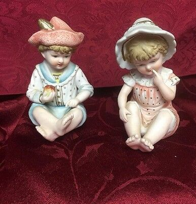 Vtg. Andrea by Sadek Twin Bisque Boy & Girl Toddlers Piano Figurines #6682 Japan