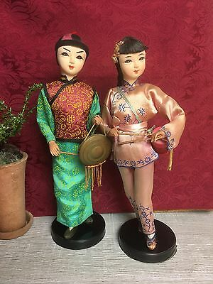 "Vintage Pair Chinese Asian Ethnic 11"" Dolls Musicians Traditional Costume"