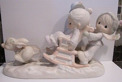 """1987 Precious Moments """"Oh What Fun It Is To Ride"""" 109819 Sleigh Ride Excellent"""