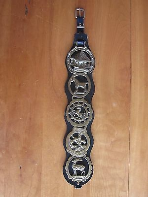 Vintage Horse Brass Equestrian Leather Harness Strap 5 Medallions