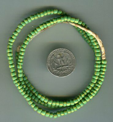 African Trade beads Vintage Venetian glass old striped green seed beads