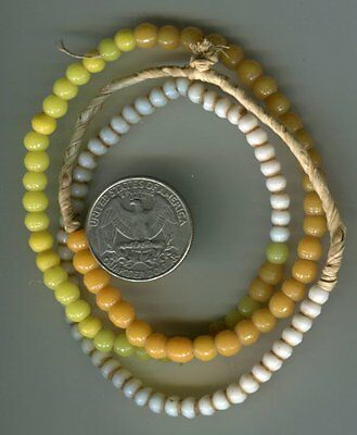 African Trade beads Vintage Venetian glass old white seed orange yellow prosser