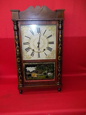 Excellent Looking  Old Antique Short Drop Wood Wooden Works Weight Clock  !!