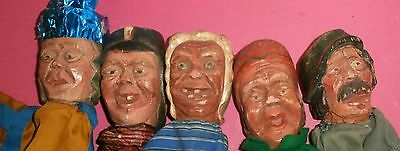 C1900 RARE & UNIQUE Punch & Judy wooden carved  HEADS  5  puppets FOLK ART