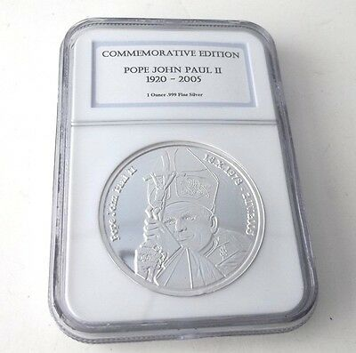 Pope John Paul 1 oz. Pure Silver Commemerative Edition NGC Coin  - FREE SHIPPING