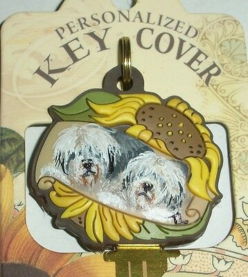 Hand Painted Old English Sheepdogl Key decorated sunflower cover