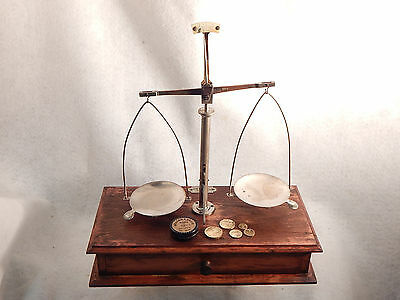 100 yr OLD ANTIQUE JOHN MARIS APOTHECARIES SCALE with WEIGHTS WORKING GUARANTEED