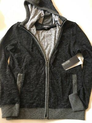 KENNETH COLE REACTION Charcoal HEATHER  FULL ZIP HOODIE JACKET SWEATER MENS S