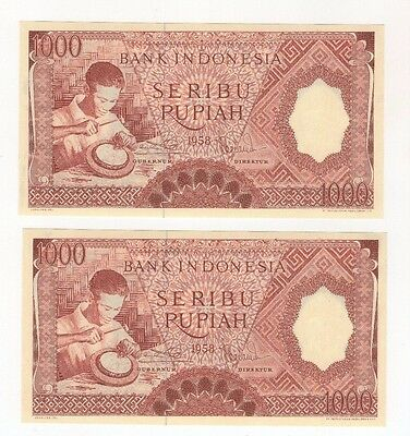 i42 Indonesia 1000 Rupiah Consecutive Pair 1958 P-61 Crisp Banknotes Currency