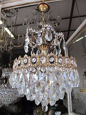 Antique French Basket Real Bohemian Crystal Chandelier Lamp 1940's 14in dmtr