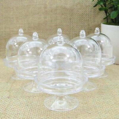 20 Clear Mini Cake Stand Cupcake box Wedding Party Shower Plastic Candy Box UI