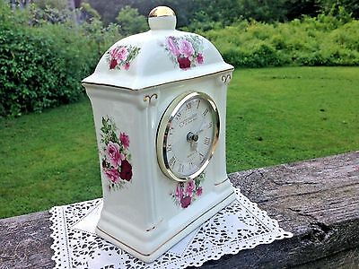 Baum Brothers Formalities Porcelain Mantel Clock-Victorian Rose Collection