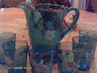 hand painted blue pitcher and six tumblers