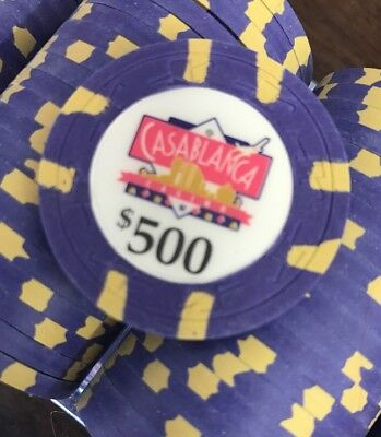 10 $500 Casablanca Casino Chips Aruba PAULSON Clay TOP HAT & CANE Uncirculated P