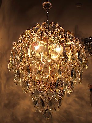 Antique Vnt French HUGE Cage Style Crystal Chandelier Lamp 1940s 18in diametr*