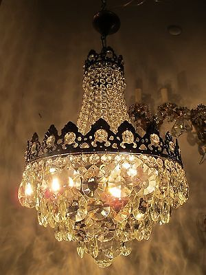 Antique Vnt French HUGE Basket Crystal Chandelier Lamp 1940's 14in dm-