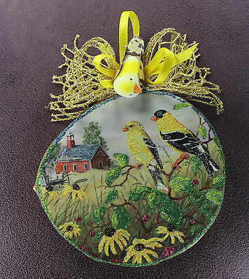 Wall Art Country Decor Picture Goldfinch Love Couple Birds WOOD SLICE ORNAMENT
