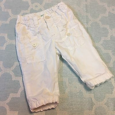 Benetton Baby White Windbreaker Cotton Lined Pants Size 1-3mos
