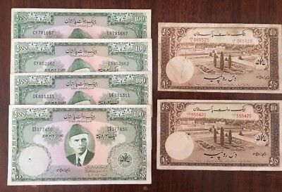 P12 Pakistan 10 100 Rupees 1949-1953-1957 P-13 18 lot of 6 Banknotes Currency