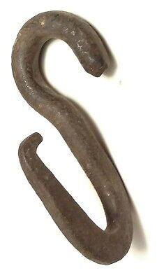 "Authentic Antique Primitive Hand Forged Iron Hook 5-6"" twisted hitch harness"