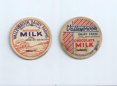 """Two different """"Valleybrook Dairy Farms""""  New Florence, Pa.  milk bottle caps."""
