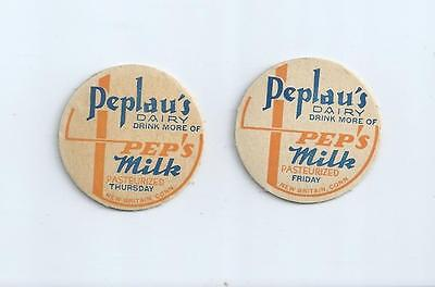 """Two days from """"Peplau`s Dairy""""  Thurs./Fri.; New Britain, Conn. milk bottle caps"""