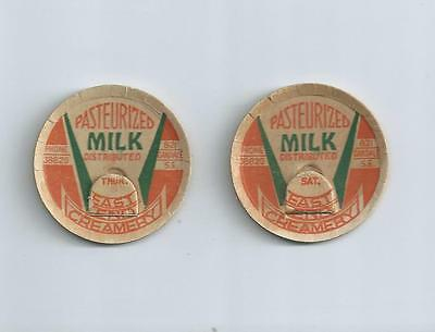 """Two days from """"East End Creamery""""  Michigan milk bottle caps"""