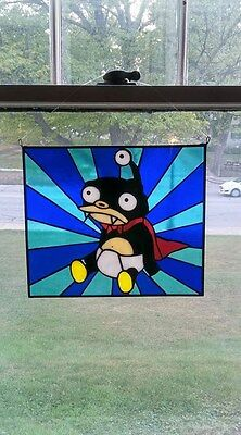 Nibbler, Futurama,Hand Crafted Stained Glass panel, leaded glass window panel