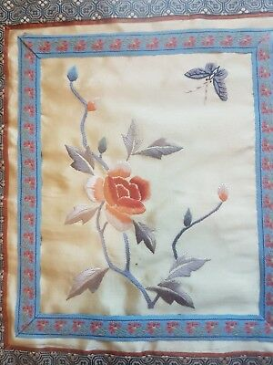 Vintage Chinese Silk Needlework Embroidery Panel Bird Flowers Framed And Glazed