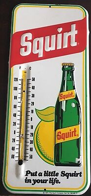 Vintage Antique SQUIRT Soda Cola Bottle Tin Metal Non Porcelain Thermometer Sign