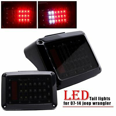 CA 2X Jeep Wrangler JK 07-14 LED Tail Lights Rear Brake Reverse Lamps Smoke Lens
