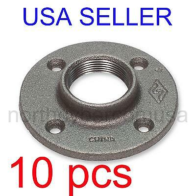 "10 pcs 1/2"" BLACK MALLEABLE IRON FLOOR FLANGE FITTING PIPE NPT"