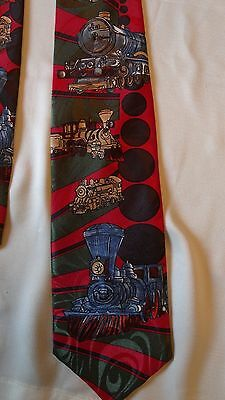 "Steam Locomotive Themed 100% Polyester 57"" Neck Tie BySerge Stint Yves"