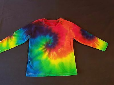 Unisex Kids Size 3 Tie-Dye Rainbow Revolution Long Sleeve Cotton T-Shirt, Unique