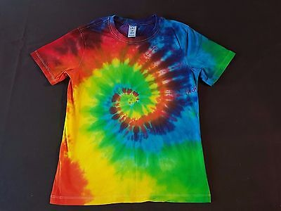 Unisex Kids Size 12, Tie-Dye Rainbow Revolution Spiral, T-Shirt, Cotton, Unique